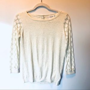 Anthropologie Sparrow Cream Sweater Sheer Sleeves